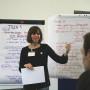 Nele Asche von der Bürgerstiftung Jena erklärt die wichtigsten Erkenntnisse des zweiten Thementisches